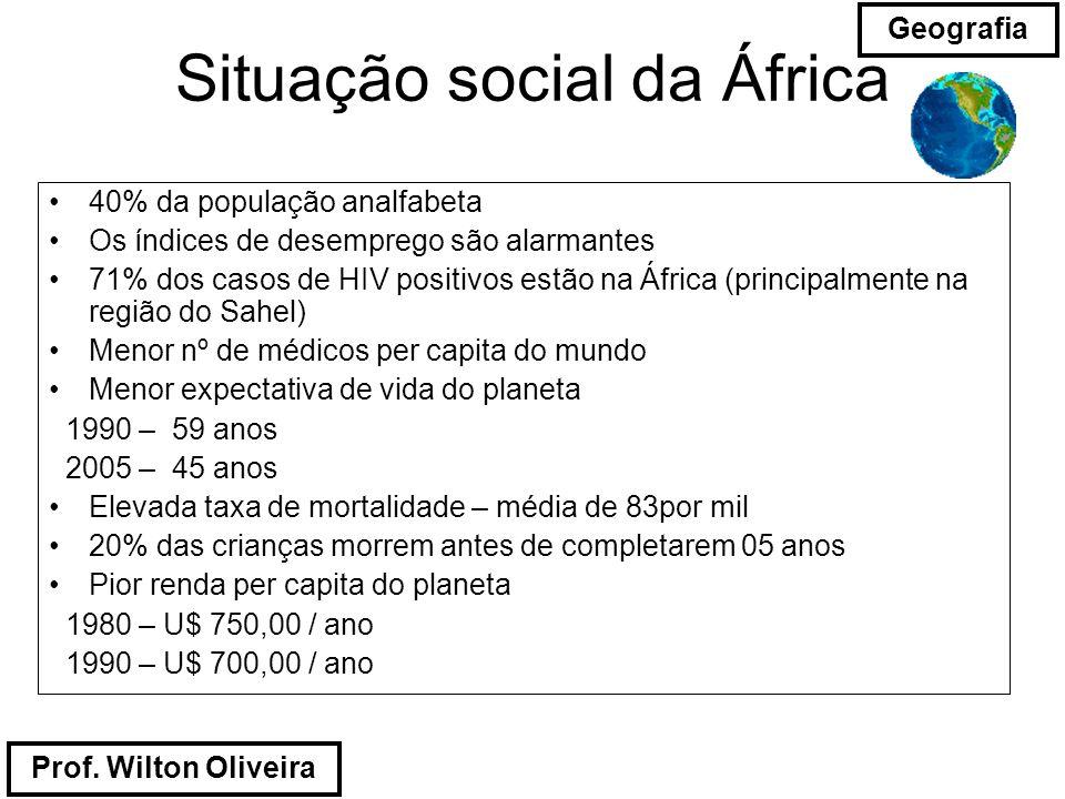 Prof. Wilton Oliveira Geografia Situação social da África 40% da população analfabeta Os índices de desemprego são alarmantes 71% dos casos de HIV pos