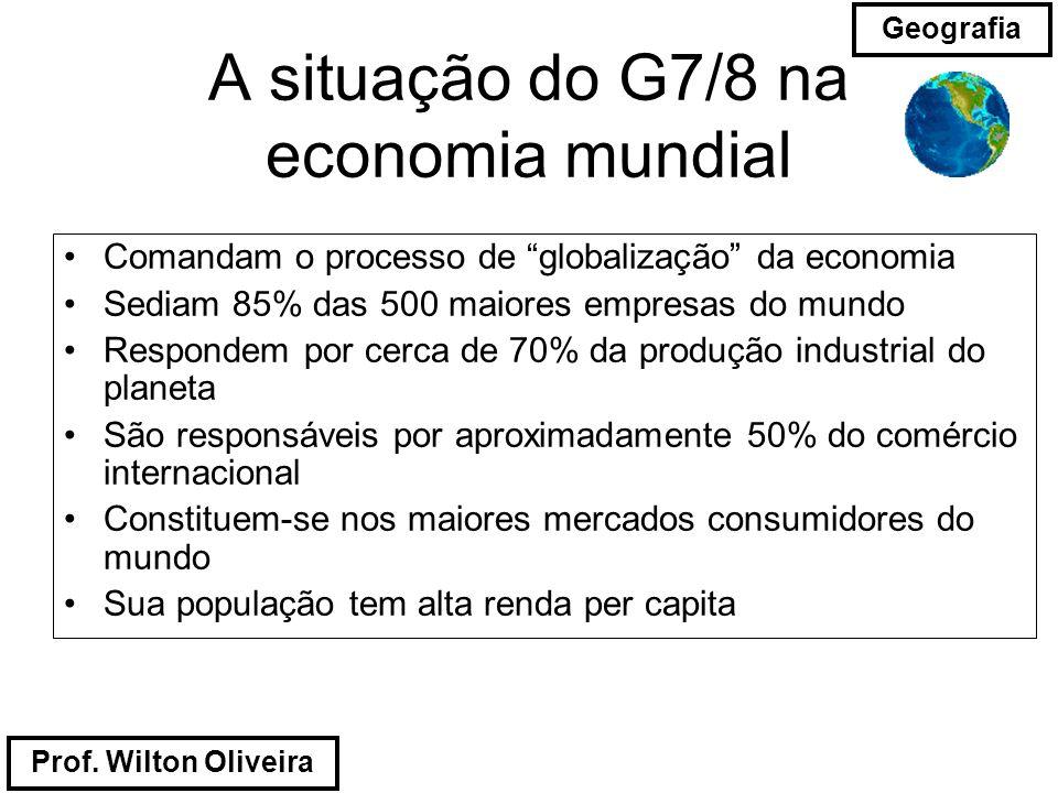Prof. Wilton Oliveira Geografia A situação do G7/8 na economia mundial Comandam o processo de globalização da economia Sediam 85% das 500 maiores empr