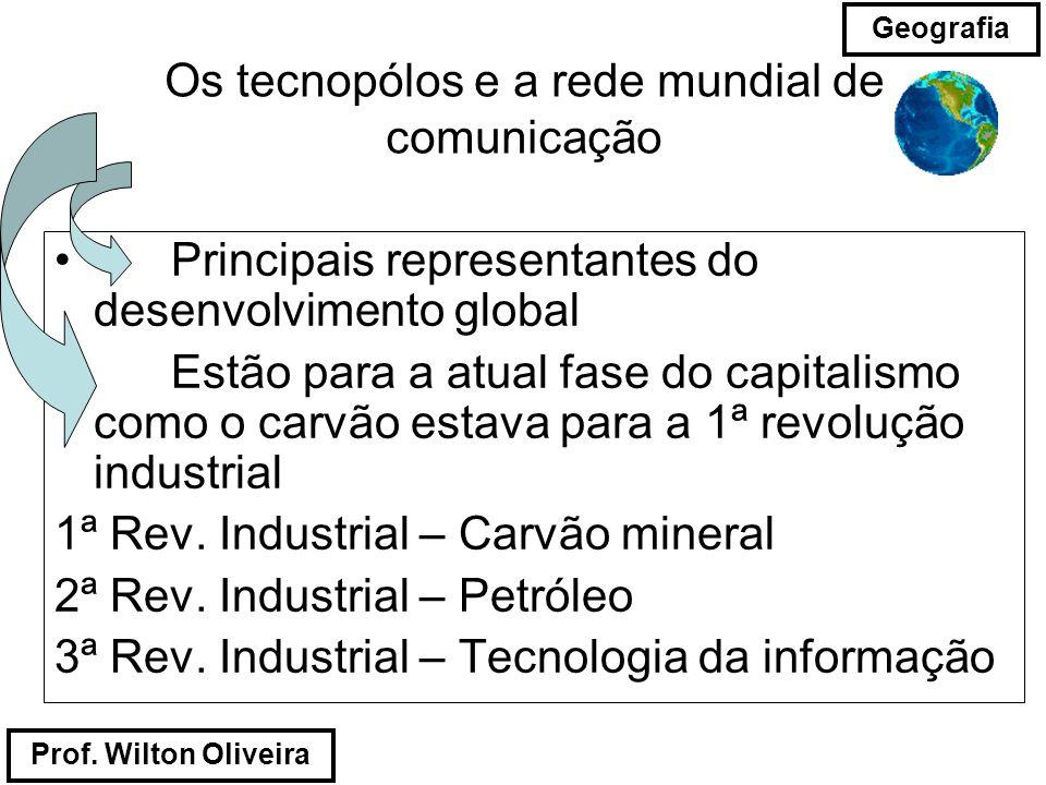 Prof. Wilton Oliveira Geografia Os tecnopólos e a rede mundial de comunicação Principais representantes do desenvolvimento global Estão para a atual f