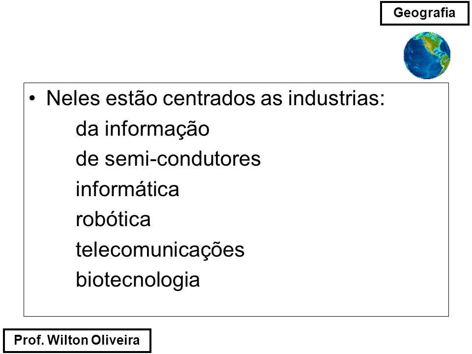 Prof. Wilton Oliveira Geografia Neles estão centrados as industrias: da informação de semi-condutores informática robótica telecomunicações biotecnolo