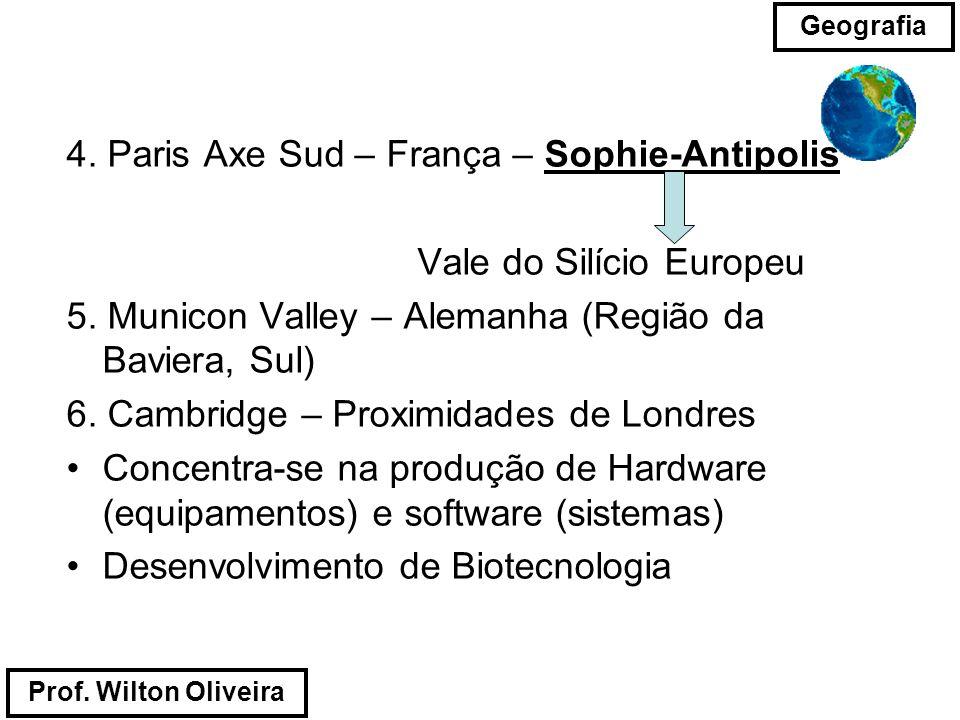 Prof. Wilton Oliveira Geografia 4. Paris Axe Sud – França – Sophie-Antipolis Vale do Silício Europeu 5. Municon Valley – Alemanha (Região da Baviera,