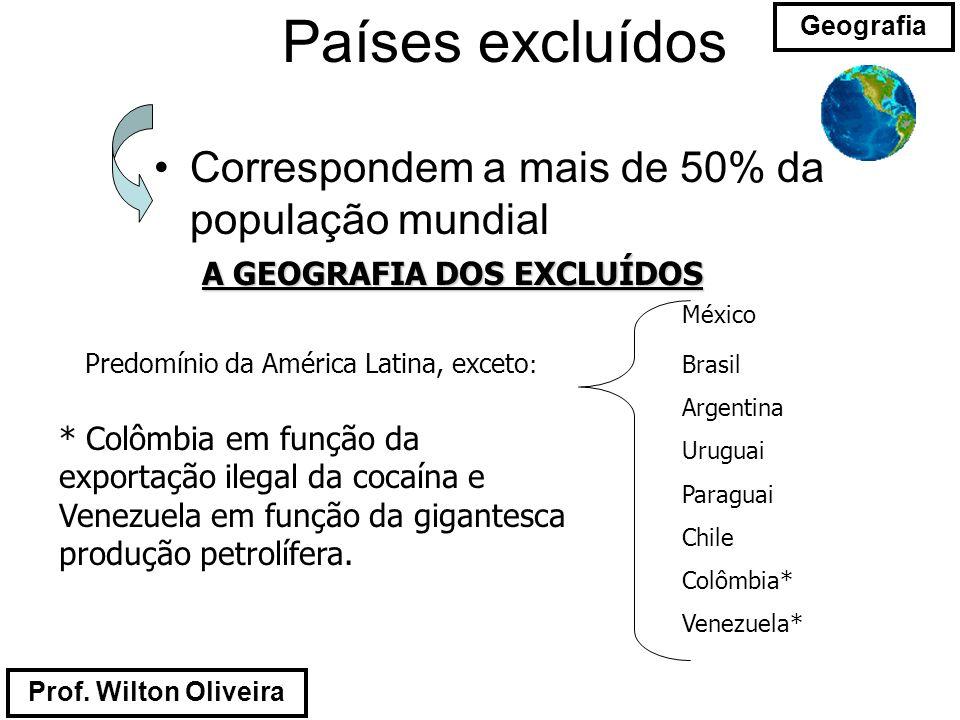 Prof. Wilton Oliveira Geografia Países excluídos Correspondem a mais de 50% da população mundial A GEOGRAFIA DOS EXCLUÍDOS México Predomínio da Améric