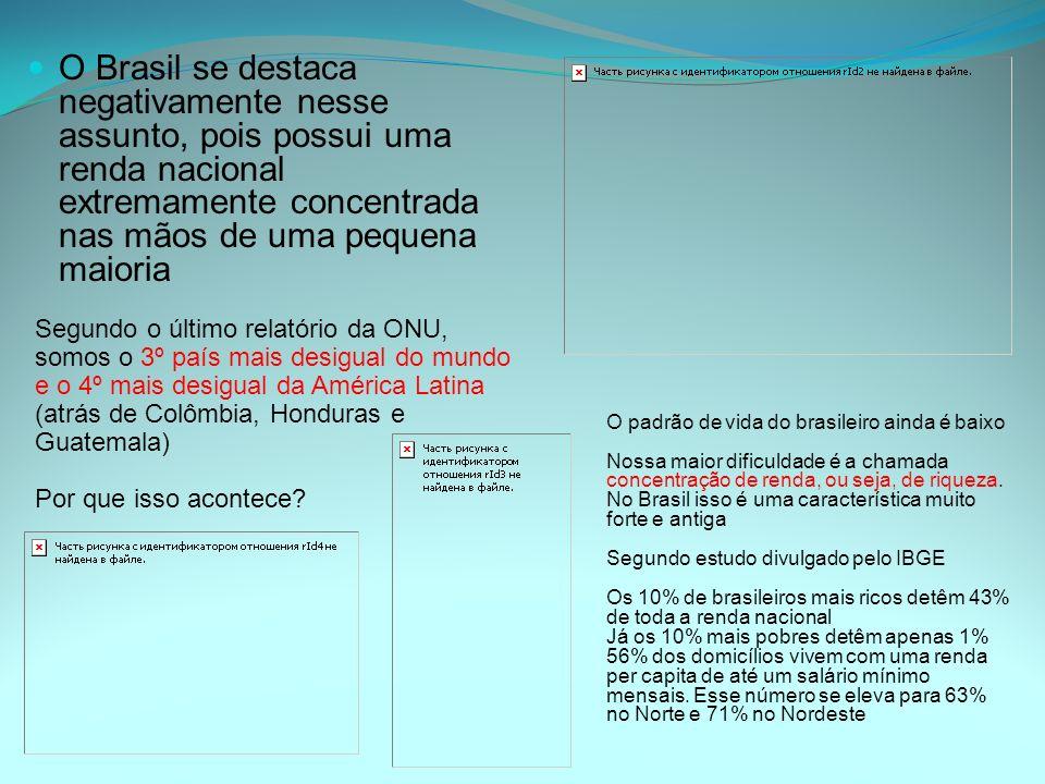 O Brasil se destaca negativamente nesse assunto, pois possui uma renda nacional extremamente concentrada nas mãos de uma pequena maioria Segundo o últ