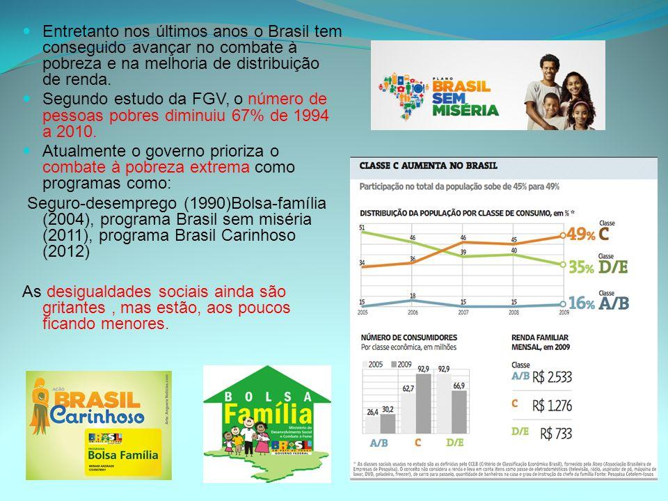 Entretanto nos últimos anos o Brasil tem conseguido avançar no combate à pobreza e na melhoria de distribuição de renda. Segundo estudo da FGV, o núme