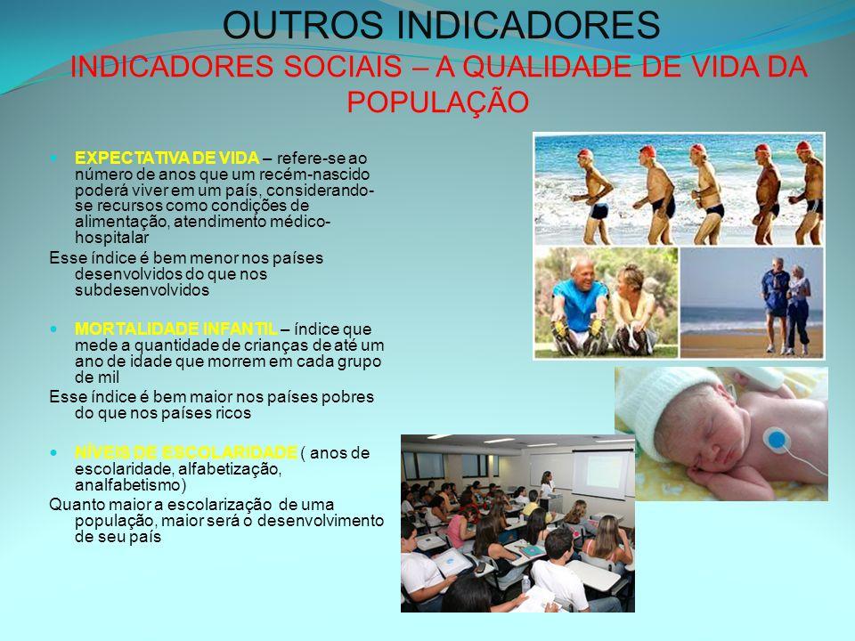 OUTROS INDICADORES INDICADORES SOCIAIS – A QUALIDADE DE VIDA DA POPULAÇÃO EXPECTATIVA DE VIDA – refere-se ao número de anos que um recém-nascido poder