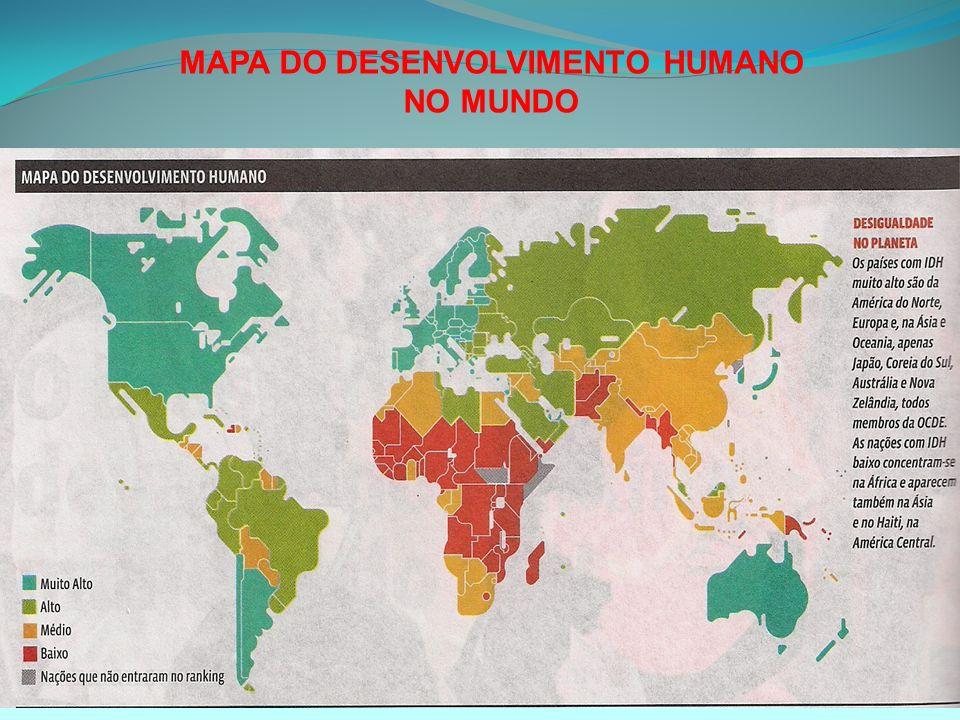 MAPA DO DESENVOLVIMENTO HUMANO NO MUNDO
