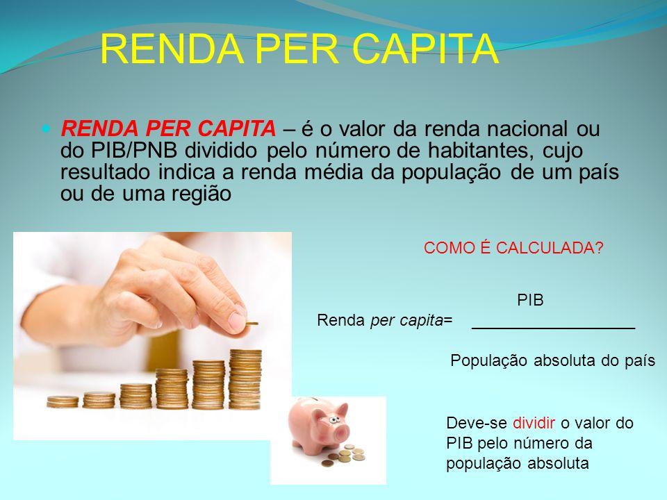 RENDA PER CAPITA RENDA PER CAPITA – é o valor da renda nacional ou do PIB/PNB dividido pelo número de habitantes, cujo resultado indica a renda média