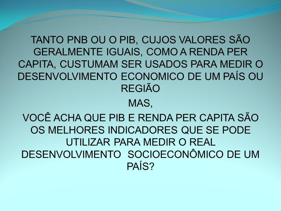 TANTO PNB OU O PIB, CUJOS VALORES SÃO GERALMENTE IGUAIS, COMO A RENDA PER CAPITA, CUSTUMAM SER USADOS PARA MEDIR O DESENVOLVIMENTO ECONOMICO DE UM PAÍ