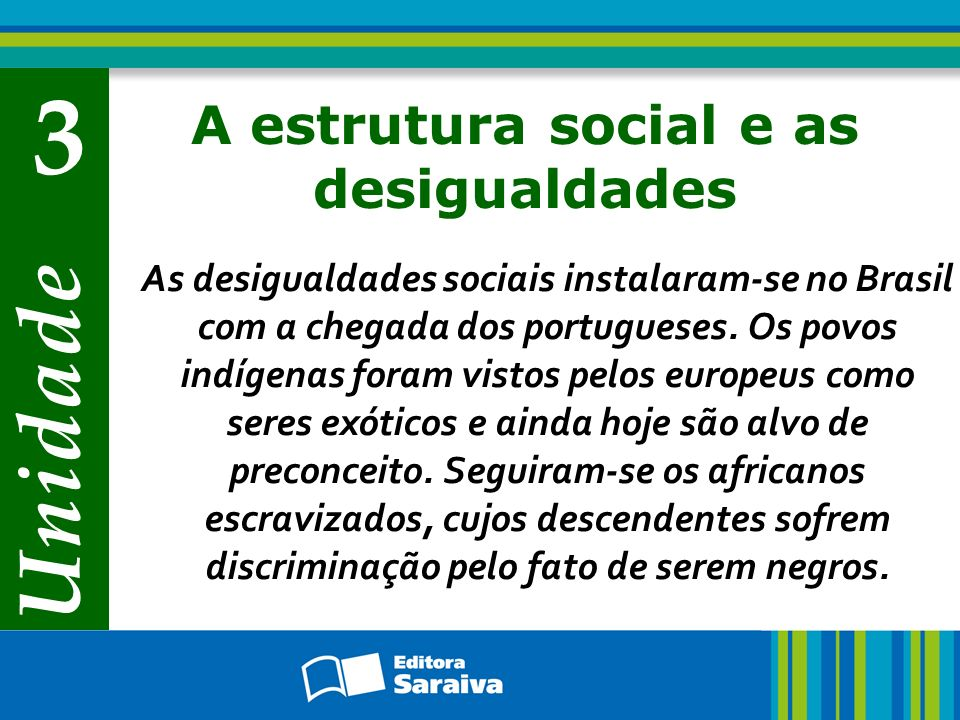 Unidade 3 A estrutura social e as desigualdades As desigualdades sociais instalaram-se no Brasil com a chegada dos portugueses. Os povos indígenas for