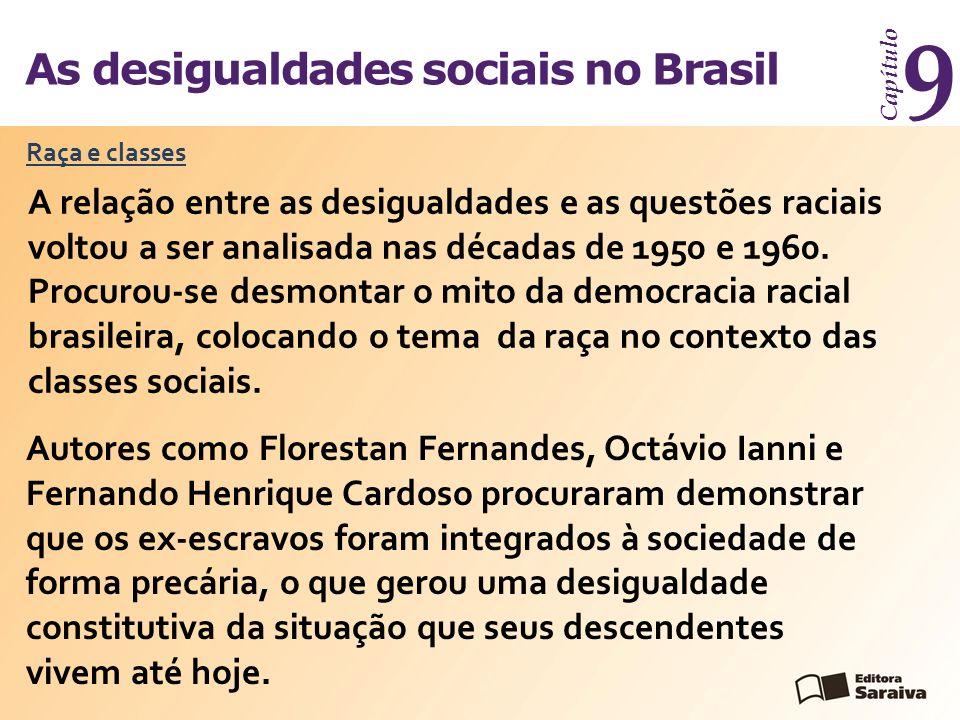 As desigualdades sociais no Brasil Capítulo 9 A relação entre as desigualdades e as questões raciais voltou a ser analisada nas décadas de 1950 e 1960