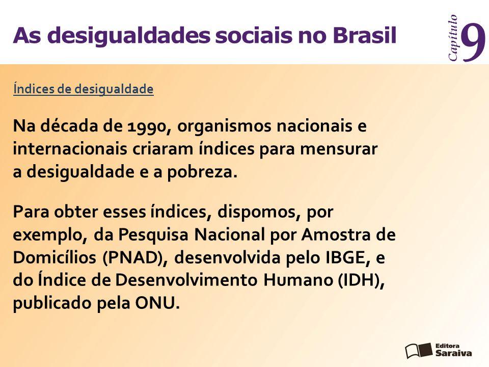 As desigualdades sociais no Brasil Capítulo 9 Índices de desigualdade Na década de 1990, organismos nacionais e internacionais criaram índices para mensurar a desigualdade e a pobreza.