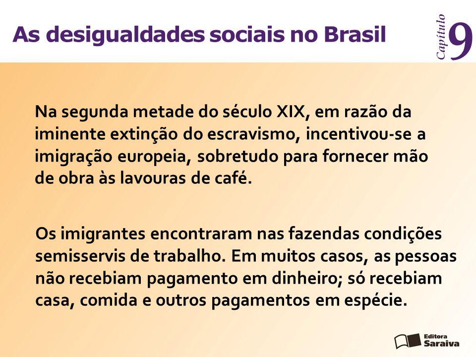 As desigualdades sociais no Brasil Capítulo 9 Na segunda metade do século XIX, em razão da iminente extinção do escravismo, incentivou-se a imigração