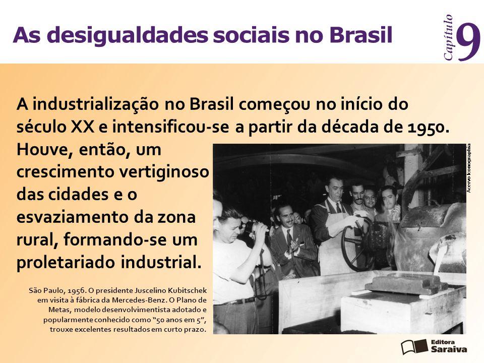 As desigualdades sociais no Brasil Capítulo 9 A industrialização no Brasil começou no início do século XX e intensificou-se a partir da década de 1950.
