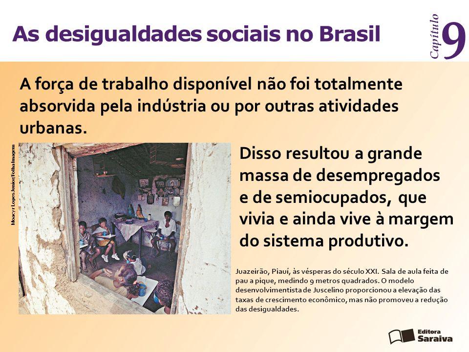 As desigualdades sociais no Brasil Capítulo 9 O processo de desenvolvimento do capitalismo no Brasil foi criando as desigualdades, que se expressam no desemprego, na pobreza e na fome.