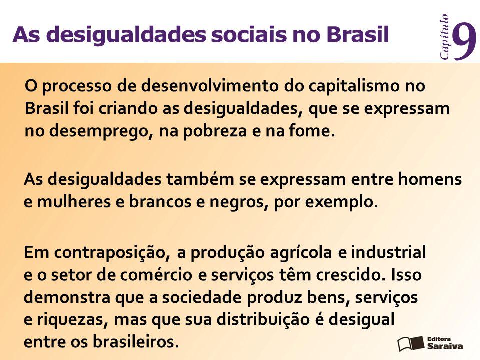 As desigualdades sociais no Brasil Capítulo 9 O processo de desenvolvimento do capitalismo no Brasil foi criando as desigualdades, que se expressam no