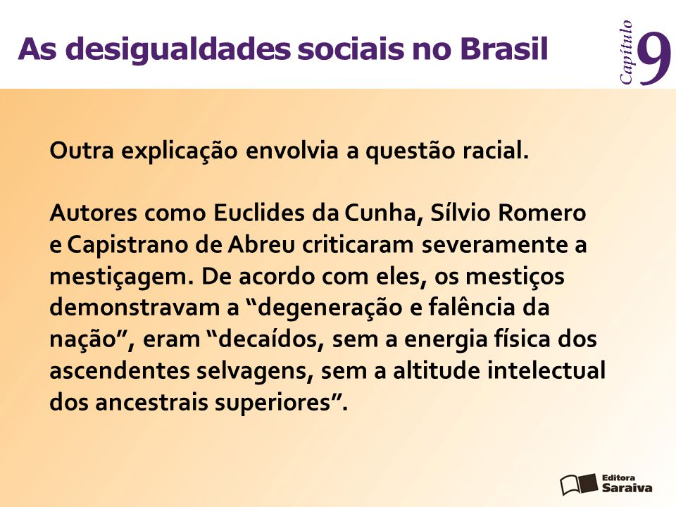 As desigualdades sociais no Brasil Capítulo 9 Para outros escritores, como Joaquim Nabuco, graças à raça negra havia surgido um povo do Brasil.