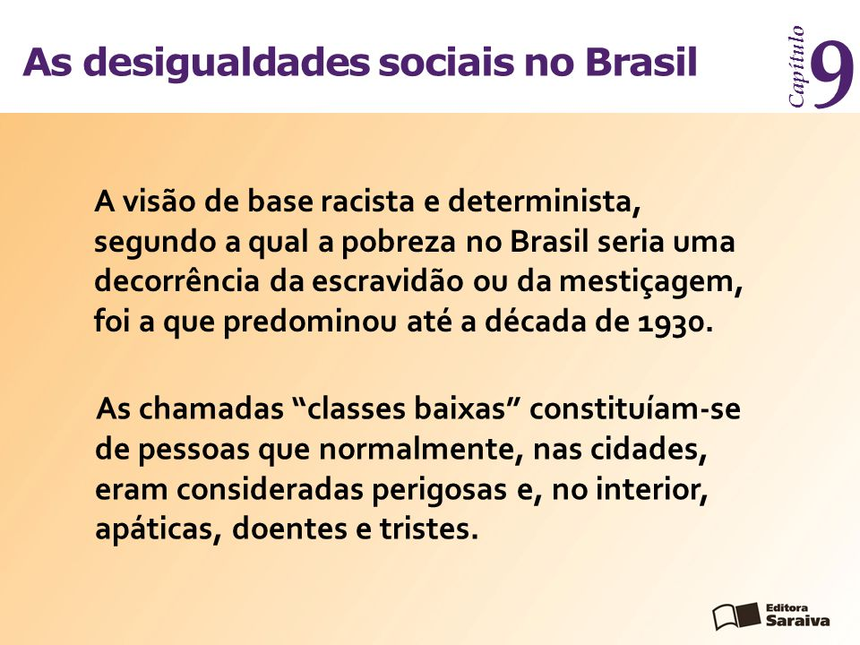 As desigualdades sociais no Brasil Capítulo 9 A visão de base racista e determinista, segundo a qual a pobreza no Brasil seria uma decorrência da escravidão ou da mestiçagem, foi a que predominou até a década de 1930.