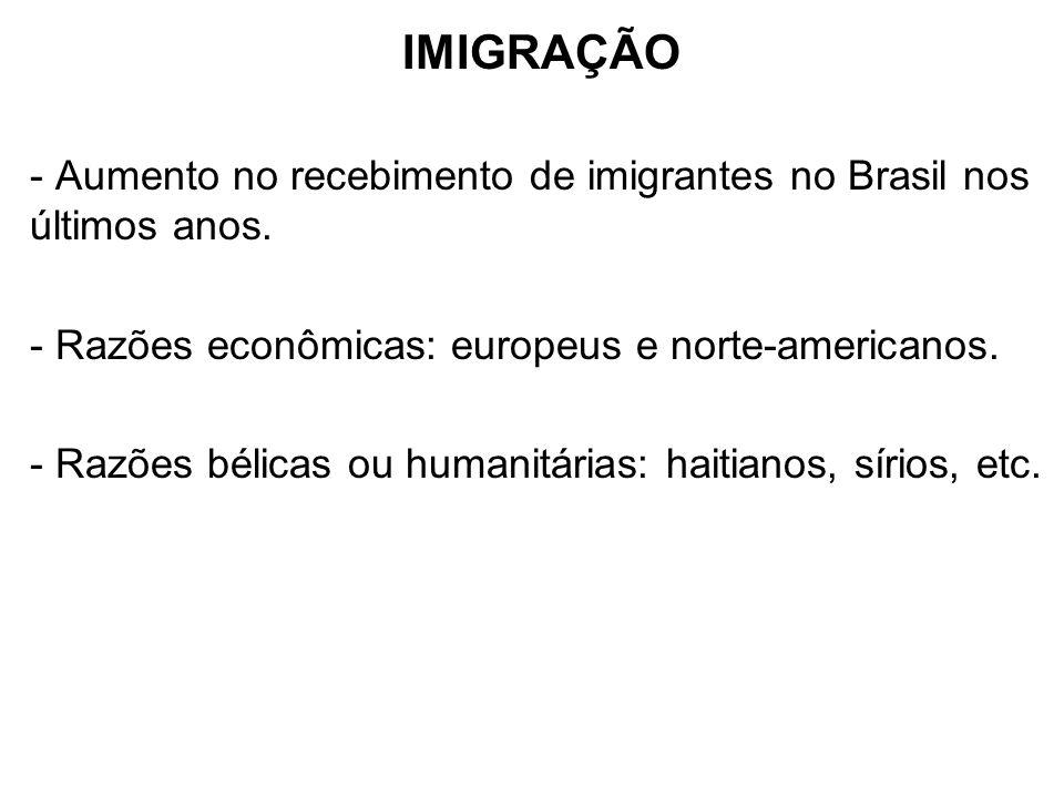 IMIGRAÇÃO - Aumento no recebimento de imigrantes no Brasil nos últimos anos. - Razões econômicas: europeus e norte-americanos. - Razões bélicas ou hum
