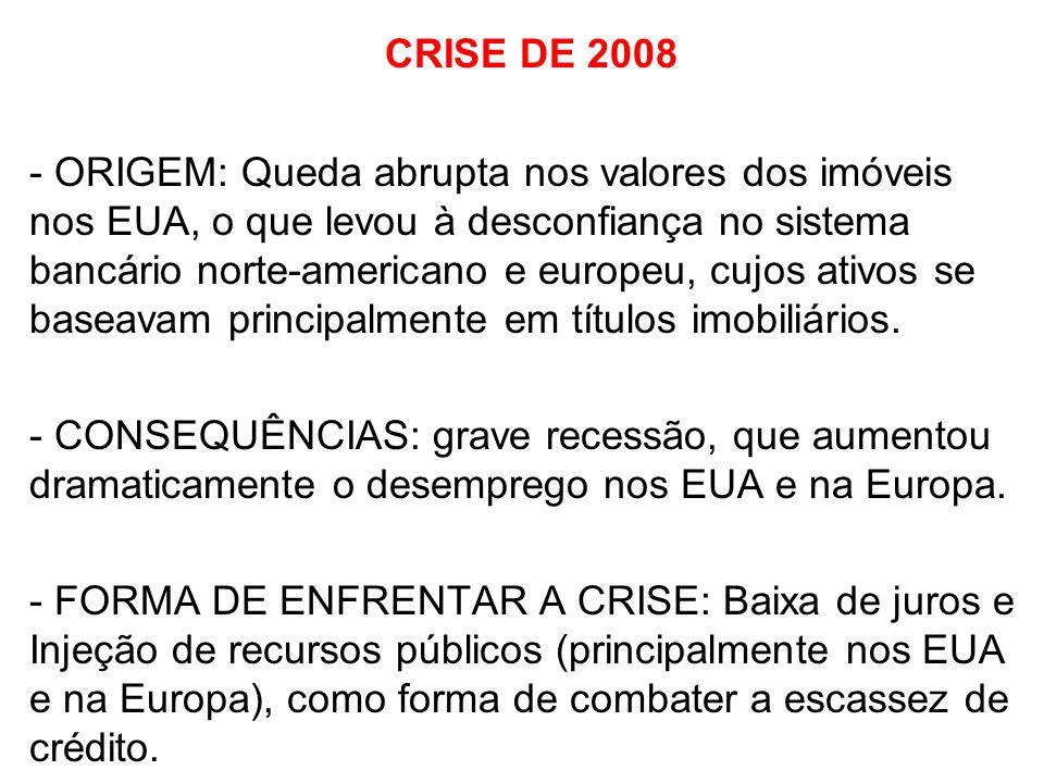 CRISE DE 2008 - ORIGEM: Queda abrupta nos valores dos imóveis nos EUA, o que levou à desconfiança no sistema bancário norte-americano e europeu, cujos