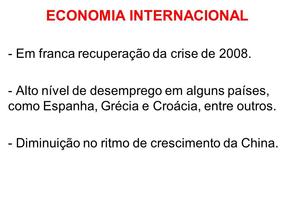 ECONOMIA INTERNACIONAL - Em franca recuperação da crise de 2008. - Alto nível de desemprego em alguns países, como Espanha, Grécia e Croácia, entre ou