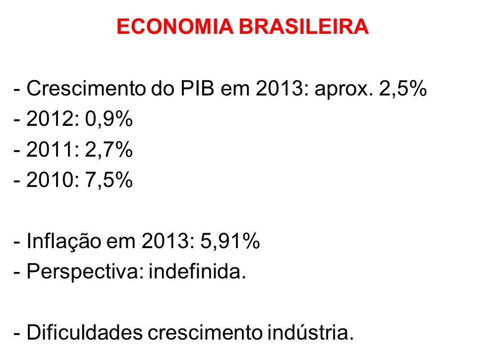 ECONOMIA BRASILEIRA - Crescimento do PIB em 2013: aprox. 2,5% - 2012: 0,9% - 2011: 2,7% - 2010: 7,5% - Inflação em 2013: 5,91% - Perspectiva: indefini