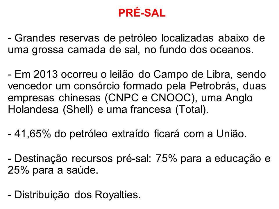 PRÉ-SAL - Grandes reservas de petróleo localizadas abaixo de uma grossa camada de sal, no fundo dos oceanos. - Em 2013 ocorreu o leilão do Campo de Li