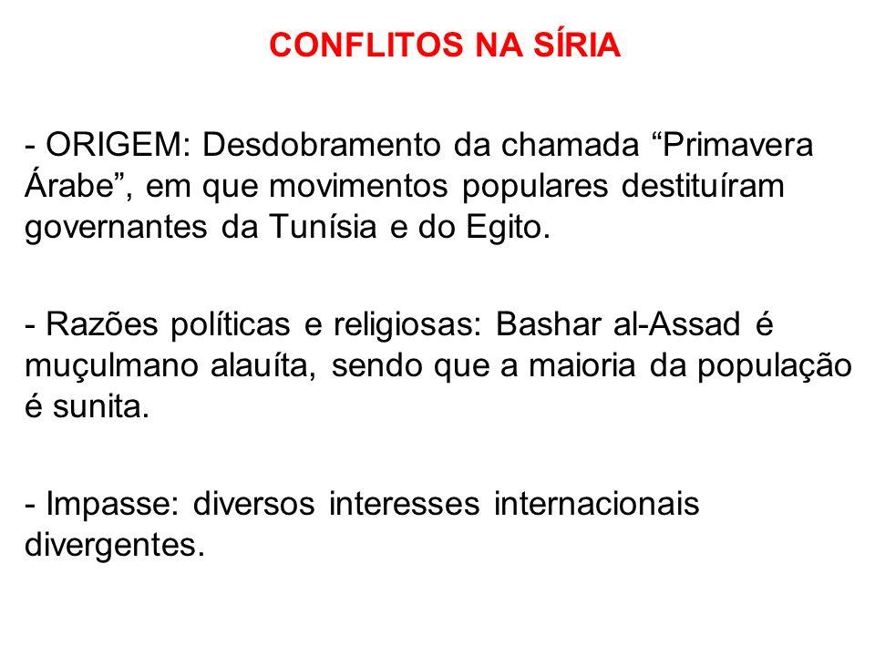 CONFLITOS NA SÍRIA - ORIGEM: Desdobramento da chamada Primavera Árabe, em que movimentos populares destituíram governantes da Tunísia e do Egito. - Ra