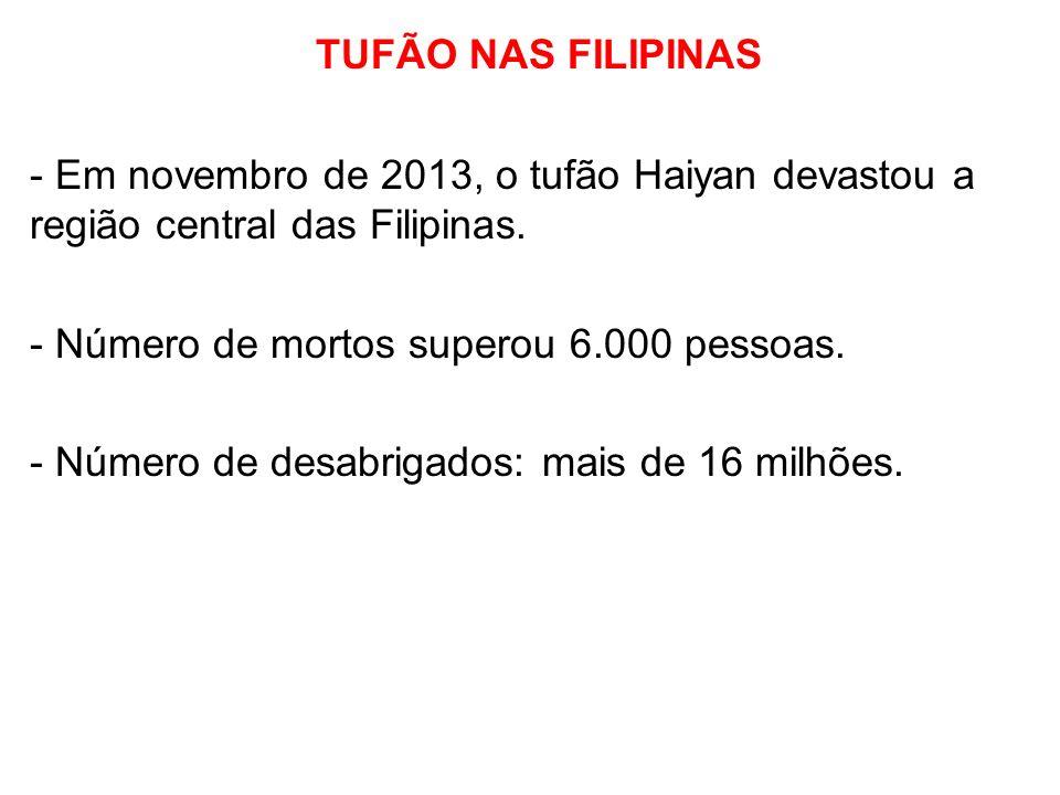 TUFÃO NAS FILIPINAS - Em novembro de 2013, o tufão Haiyan devastou a região central das Filipinas. - Número de mortos superou 6.000 pessoas. - Número