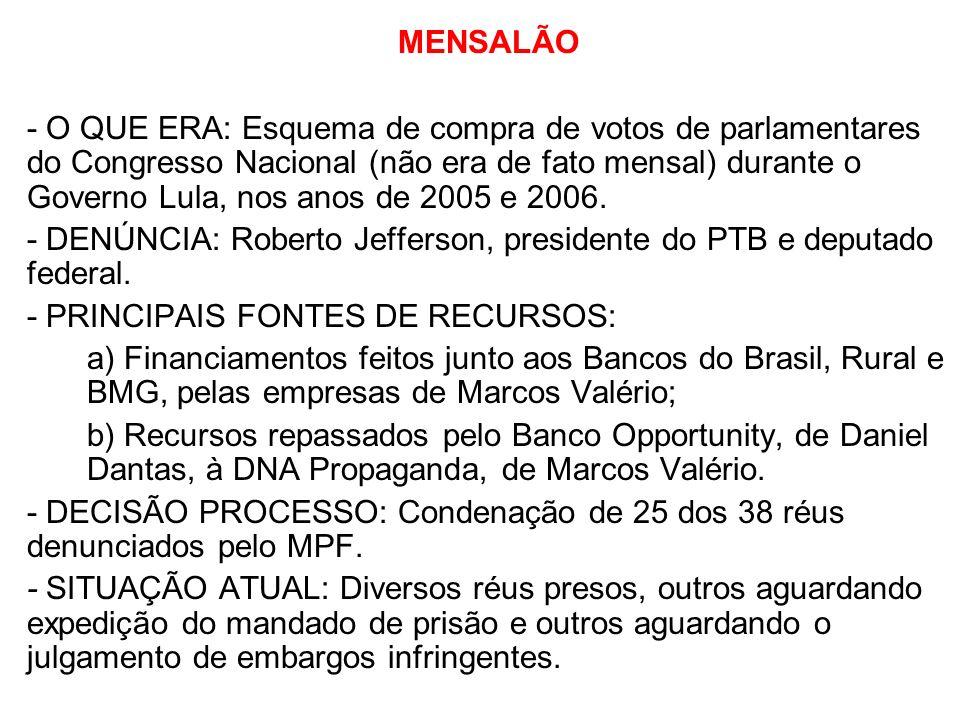 MENSALÃO - O QUE ERA: Esquema de compra de votos de parlamentares do Congresso Nacional (não era de fato mensal) durante o Governo Lula, nos anos de 2