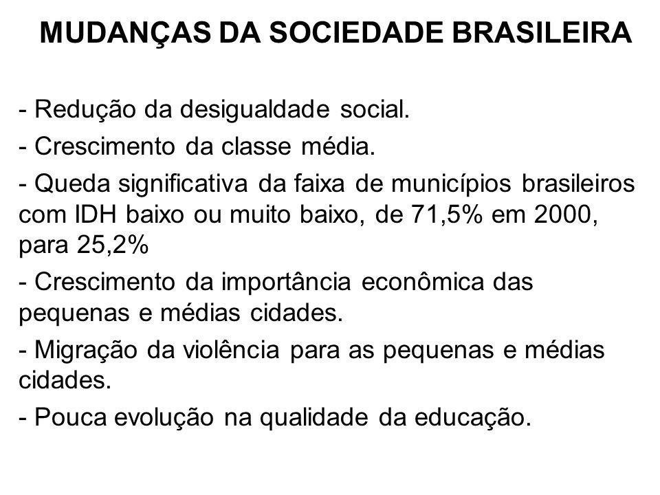 MUDANÇAS DA SOCIEDADE BRASILEIRA - Redução da desigualdade social. - Crescimento da classe média. - Queda significativa da faixa de municípios brasile