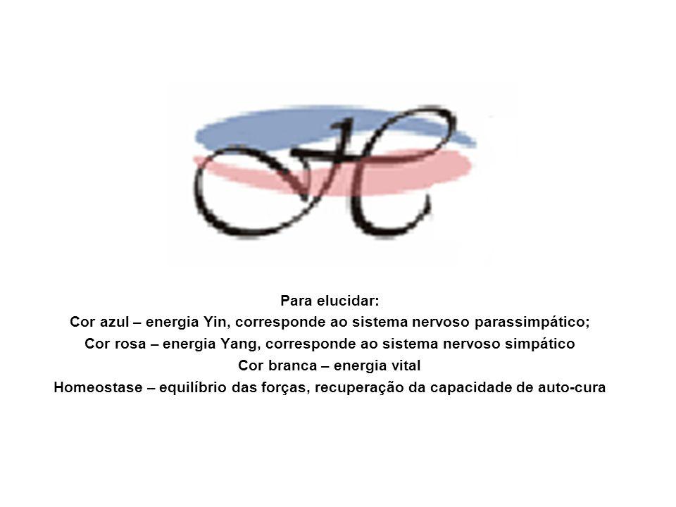 Para elucidar: Cor azul – energia Yin, corresponde ao sistema nervoso parassimpático; Cor rosa – energia Yang, corresponde ao sistema nervoso simpátic