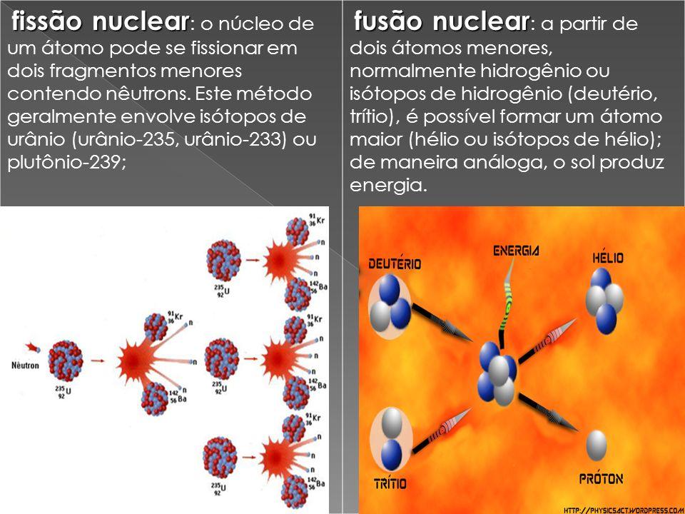 fissão nuclear fissão nuclear : o núcleo de um átomo pode se fissionar em dois fragmentos menores contendo nêutrons.