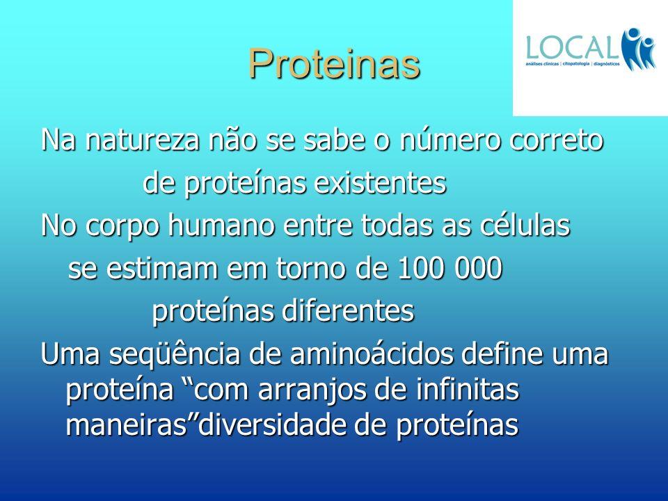 Proteinas Na natureza não se sabe o número correto de proteínas existentes de proteínas existentes No corpo humano entre todas as células se estimam e