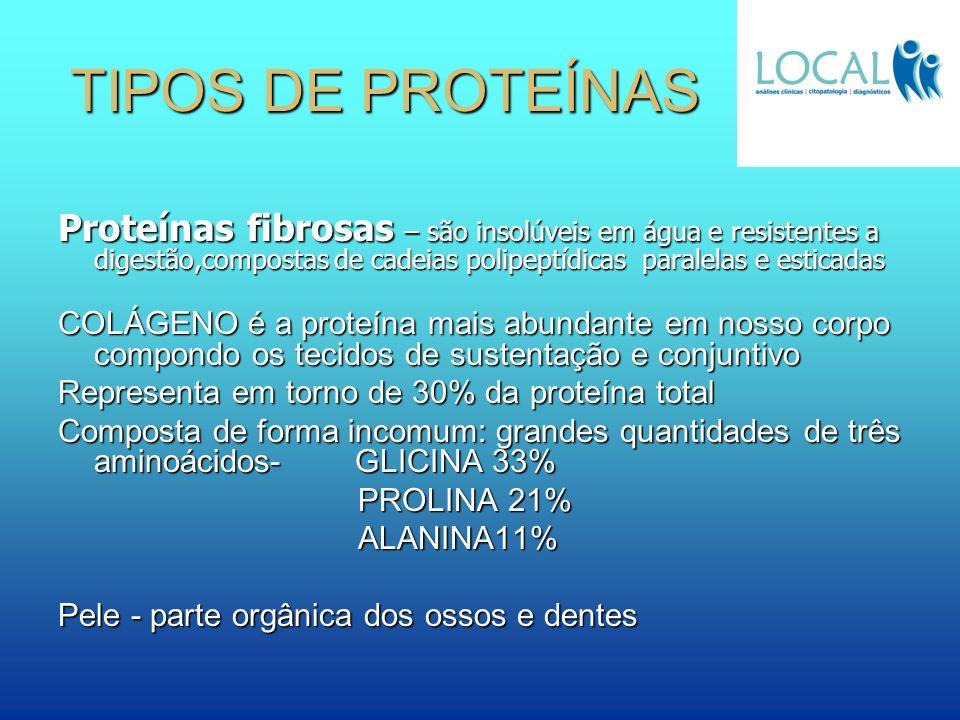 TIPOS DE PROTEÍNAS Proteínas fibrosas – são insolúveis em água e resistentes a digestão,compostas de cadeias polipeptídicas paralelas e esticadas COLÁ