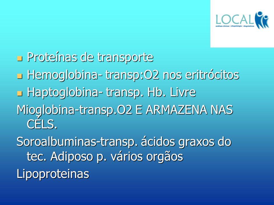 Proteínas de transporte Proteínas de transporte Hemoglobina- transp:O2 nos eritrócitos Hemoglobina- transp:O2 nos eritrócitos Haptoglobina- transp. Hb