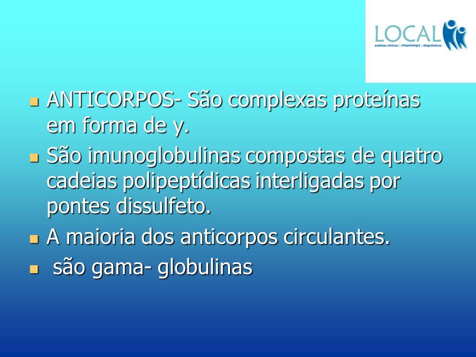 ANTICORPOS- São complexas proteínas em forma de y. ANTICORPOS- São complexas proteínas em forma de y. São imunoglobulinas compostas de quatro cadeias