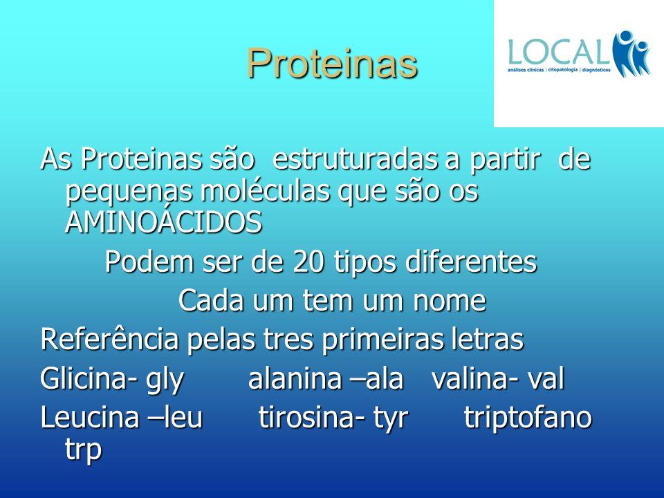Proteinas As Proteinas são estruturadas a partir de pequenas moléculas que são os AMINOÁCIDOS Podem ser de 20 tipos diferentes Podem ser de 20 tipos d