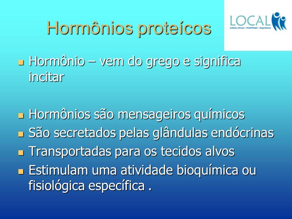 Hormônios proteícos Hormônio – vem do grego e significa incitar Hormônio – vem do grego e significa incitar Hormônios são mensageiros químicos Hormôni