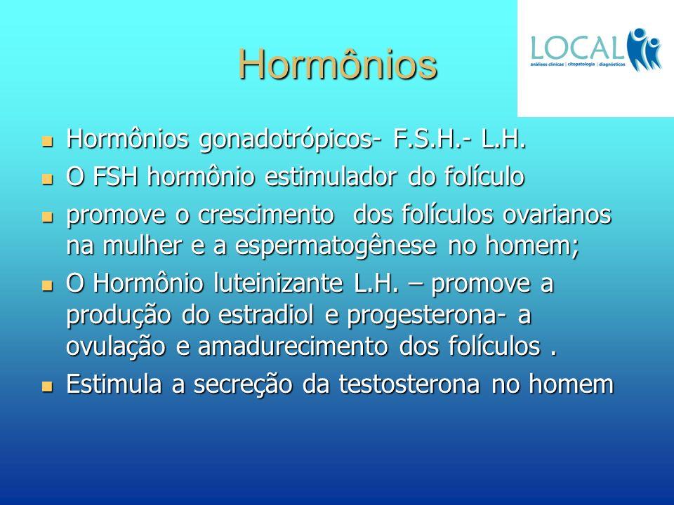 Hormônios Hormônios gonadotrópicos- F.S.H.- L.H. Hormônios gonadotrópicos- F.S.H.- L.H. O FSH hormônio estimulador do folículo O FSH hormônio estimula