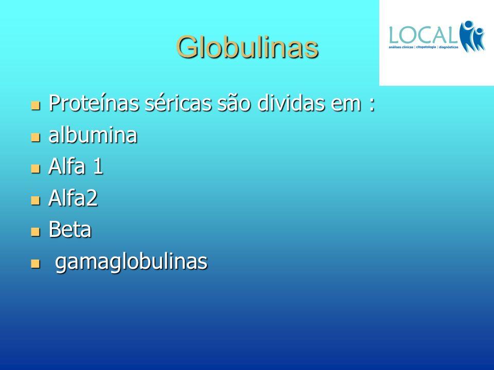 Globulinas Proteínas séricas são dividas em : Proteínas séricas são dividas em : albumina albumina Alfa 1 Alfa 1 Alfa2 Alfa2 Beta Beta gamaglobulinas