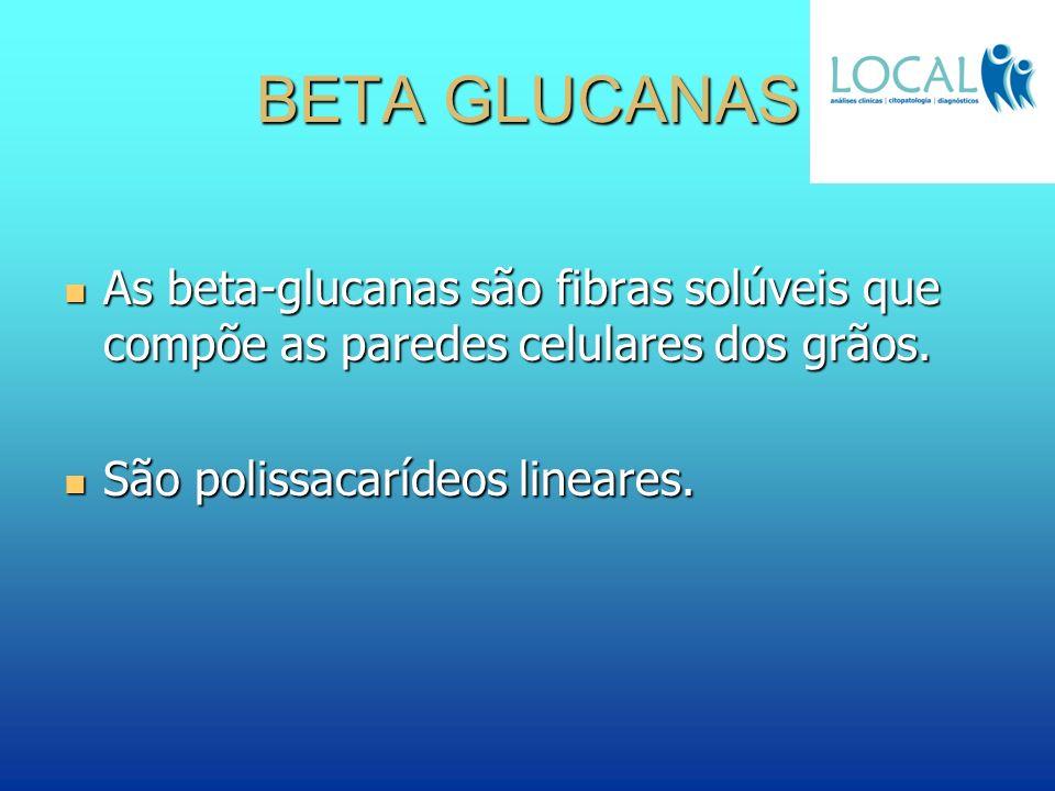BETA GLUCANAS As beta-glucanas são fibras solúveis que compõe as paredes celulares dos grãos. As beta-glucanas são fibras solúveis que compõe as pared