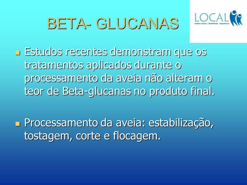 BETA- GLUCANAS Estudos recentes demonstram que os tratamentos aplicados durante o processamento da aveia não alteram o teor de Beta-glucanas no produt