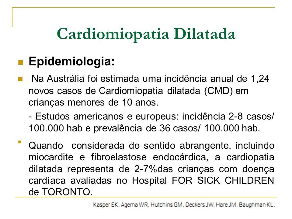 Cardiomiopatia Dilatada Epidemiologia: Na Austrália foi estimada uma incidência anual de 1,24 novos casos de Cardiomiopatia dilatada (CMD) em crianças