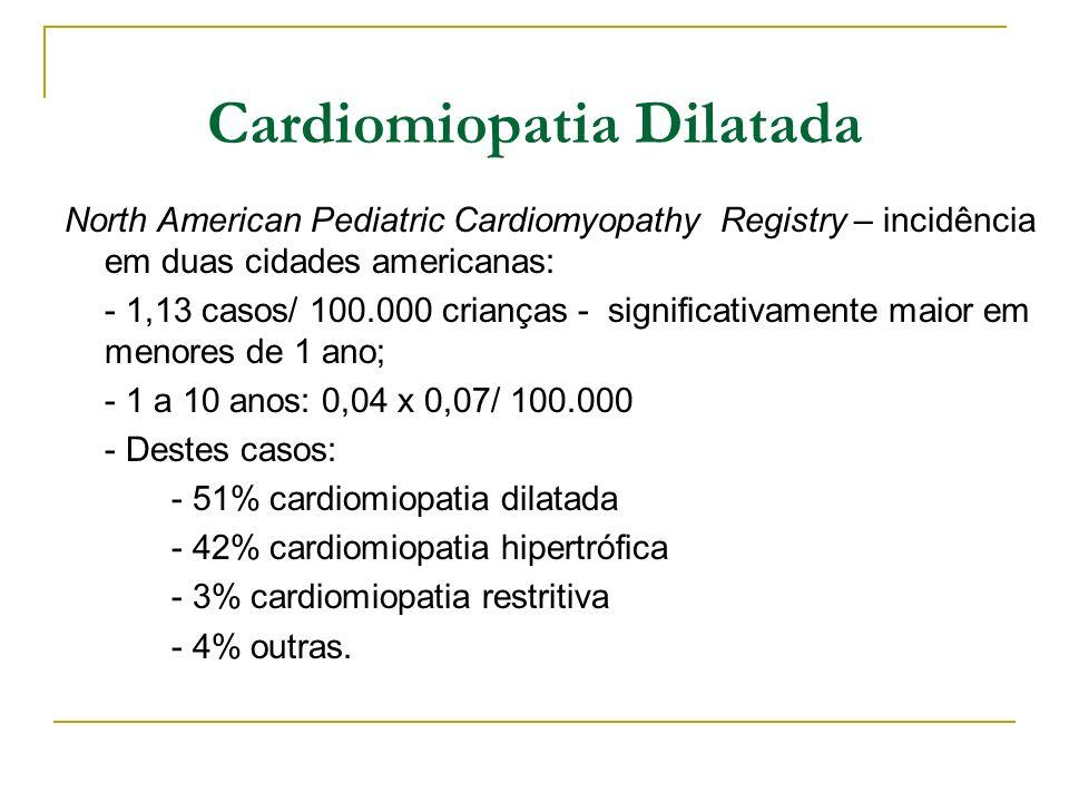 Cardiomiopatia Dilatada North American Pediatric Cardiomyopathy Registry – incidência em duas cidades americanas: - 1,13 casos/ 100.000 crianças - sig