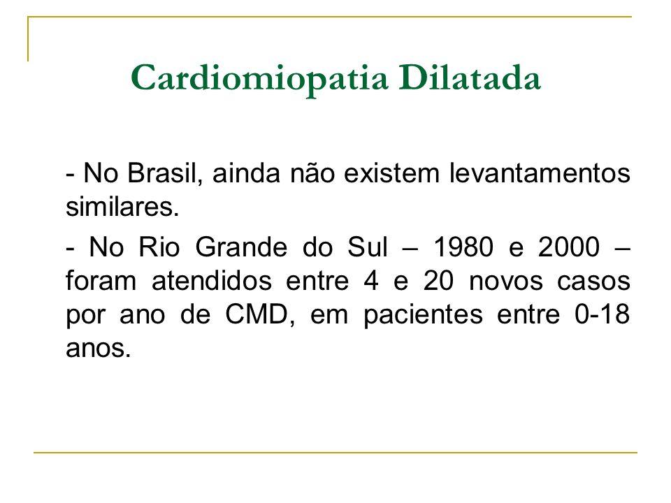 Cardiomiopatia Dilatada - No Brasil, ainda não existem levantamentos similares. - No Rio Grande do Sul – 1980 e 2000 – foram atendidos entre 4 e 20 no