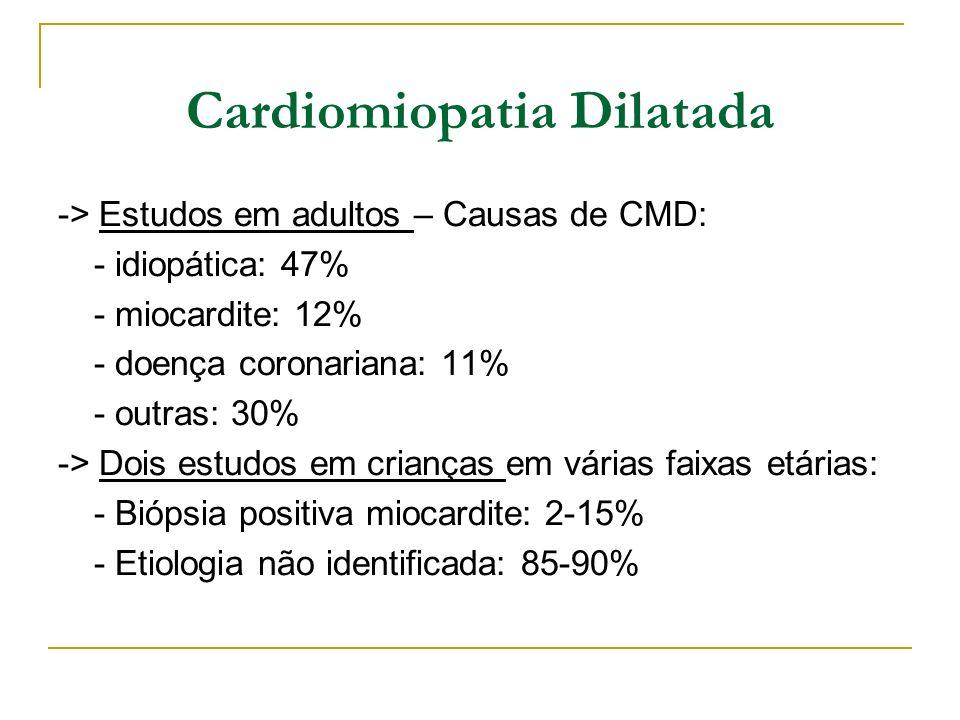 Cardiomiopatia Dilatada -> Estudos em adultos – Causas de CMD: - idiopática: 47% - miocardite: 12% - doença coronariana: 11% - outras: 30% -> Dois est