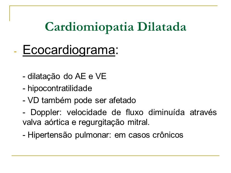 Cardiomiopatia Dilatada - Ecocardiograma: - dilatação do AE e VE - hipocontratilidade - VD também pode ser afetado - Doppler: velocidade de fluxo dimi