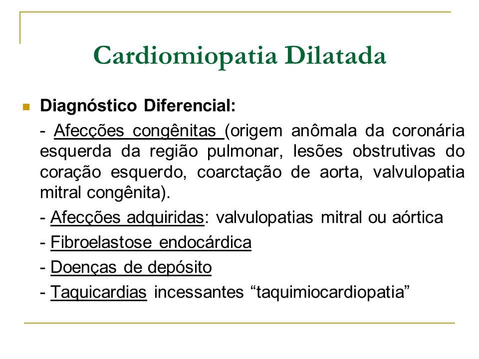 Diagnóstico Diferencial: - Afecções congênitas (origem anômala da coronária esquerda da região pulmonar, lesões obstrutivas do coração esquerdo, coarc