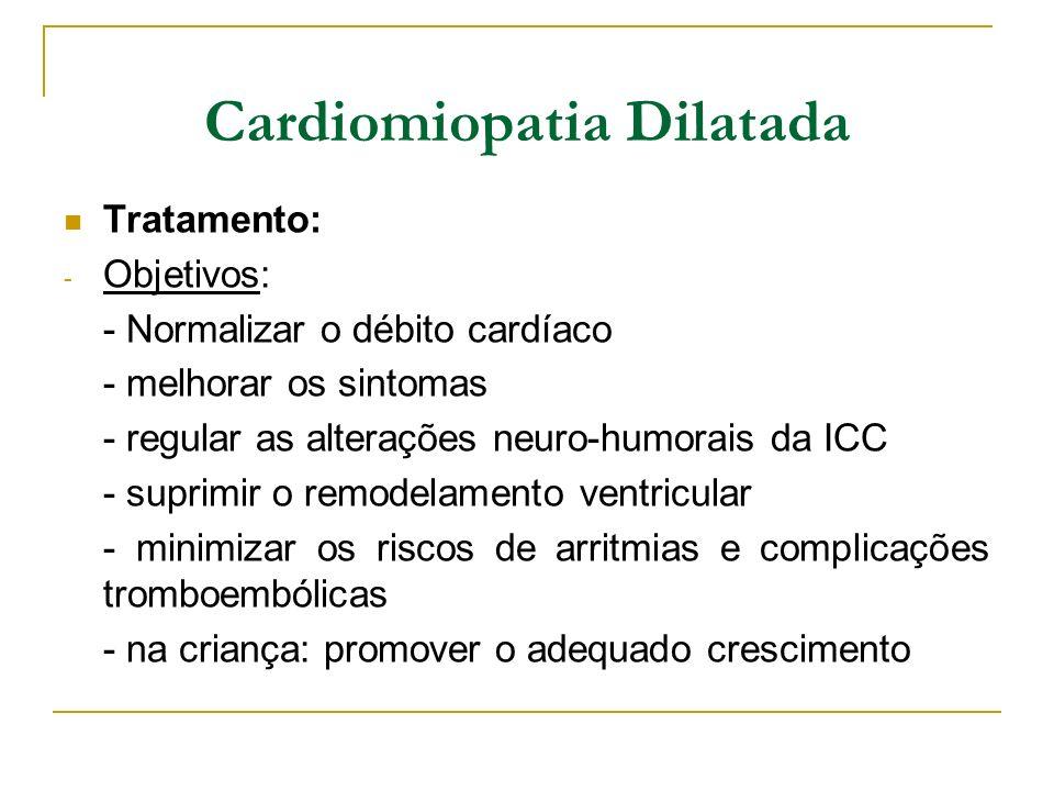Cardiomiopatia Dilatada Tratamento: - Objetivos: - Normalizar o débito cardíaco - melhorar os sintomas - regular as alterações neuro-humorais da ICC -