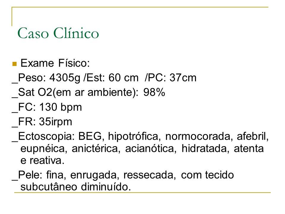 Caso Clínico Exame Físico: _Peso: 4305g /Est: 60 cm /PC: 37cm _Sat O2(em ar ambiente): 98% _FC: 130 bpm _FR: 35irpm _Ectoscopia: BEG, hipotrófica, nor